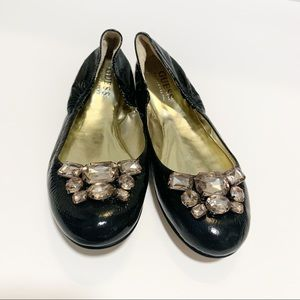 Guess FoxyLee Leather Ballet Flats w/ Rhinestones